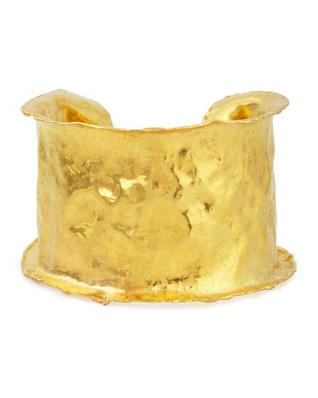 22k Yellow Gold Hammered Cuff Bracelet