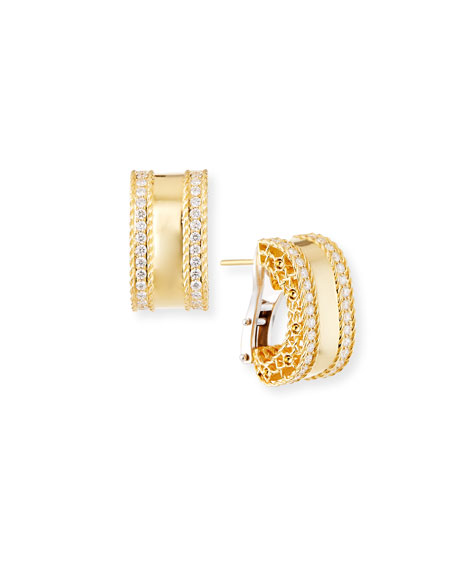 Princess 18k Gold Huggie Earrings with Diamonds