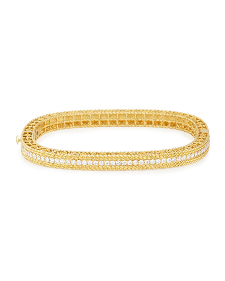 Princess 18k Gold Petite Bangle with Diamonds