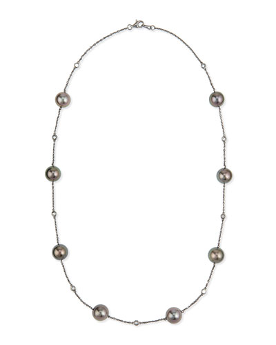 YOKO LONDON 18K BLACK GOLD TAHITIAN PEARL & DIAMOND NECKLACE