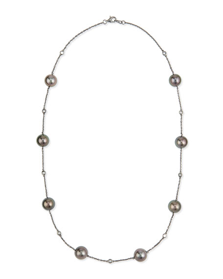 18k Black Gold Tahitian Pearl & Diamond Necklace