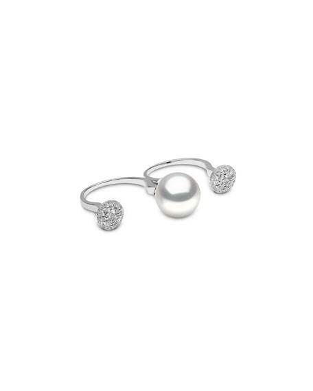 South Sea Pearl & Diamond Twin Shank Ring, Size 6/8