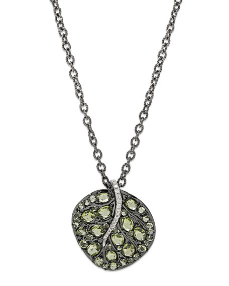 Botanical Leaf Peridot Pendant Necklace