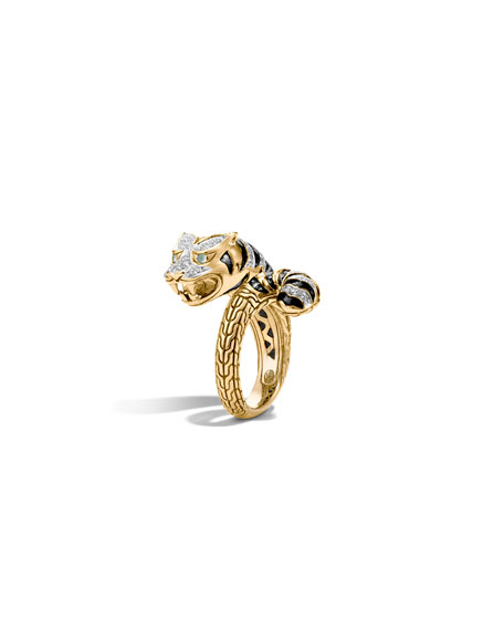 John Hardy Classic Chain 18k Macan Diamond Ring,