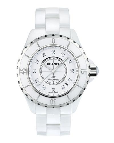 J12 White 38MM Ceramic Watch with Diamonds