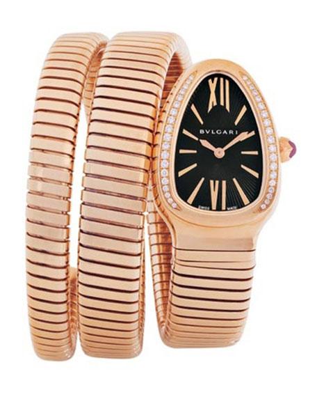 BVLGARI 35mm 18K Pink Gold Serpenti Tubogas Diamond Watch