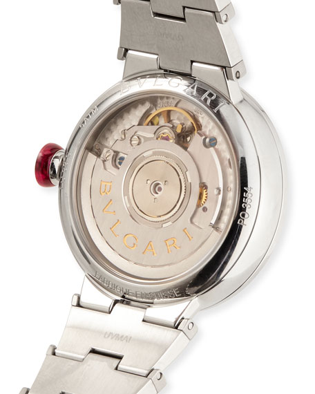 BVLGARI 33mm LVCEA Watch with Diamonds, Steel