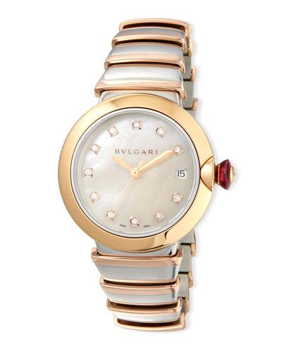 36mm LVCEA Watch with Diamonds, Two-Tone