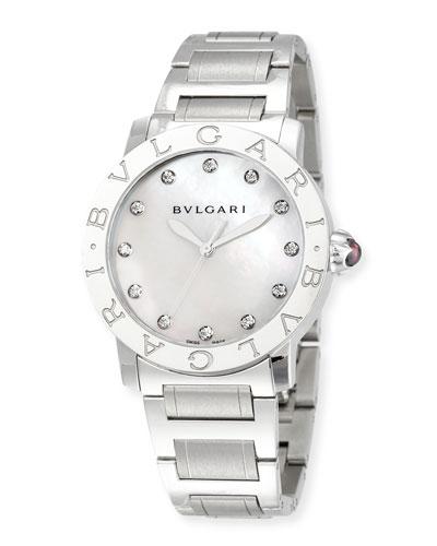 37mm Bvlgari Bvlgari Stainless Steel Diamond Watch