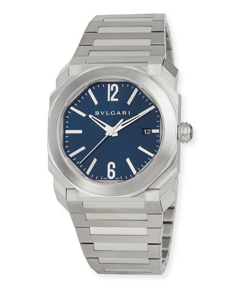 BVLGARI 41mm Stainless Steel Octo Solotempo Watch w/ Blue Dial