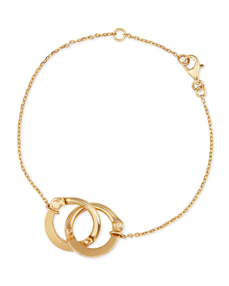 18K Gold Pave Diamond Handcuff Chain Bracelet