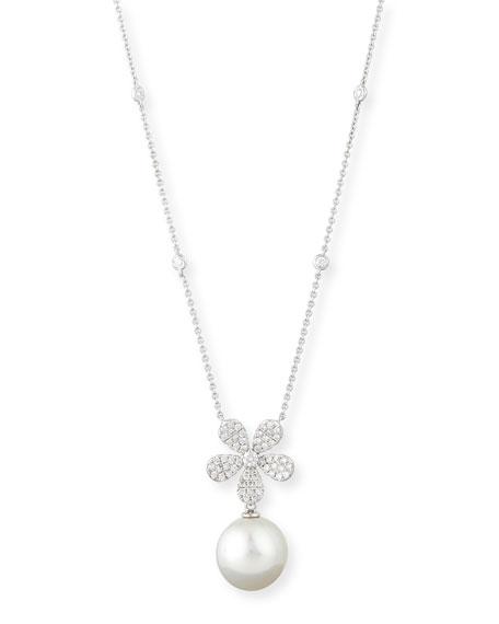 Belpearl Diamond & Pearl Pendant Necklace