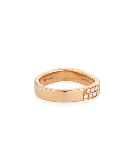 Anita Ko 18K Rose Gold Pave Diamond Band Ring, Size 6