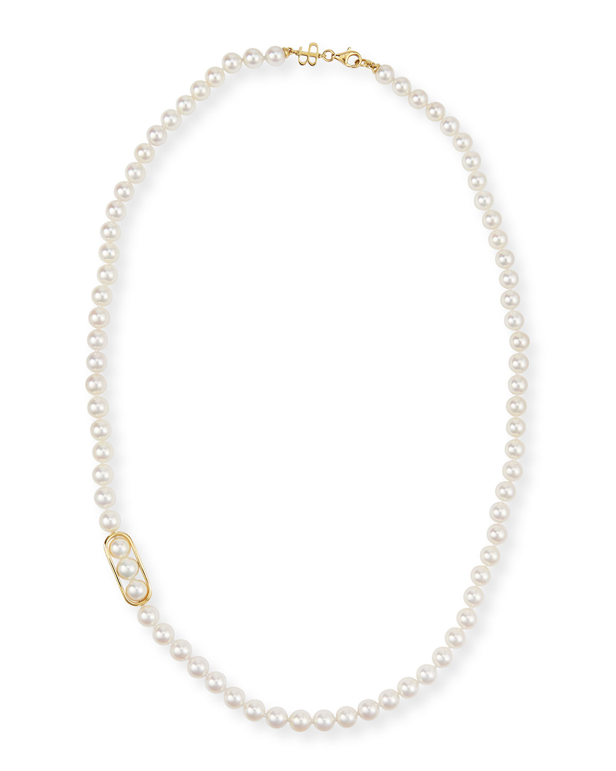 Belpearl 18K Gold Akoya Pearl Necklace, 24""