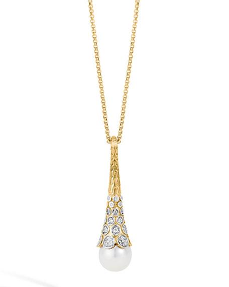 Dot 18K Gold Diamond & Pearl Pendant Necklace