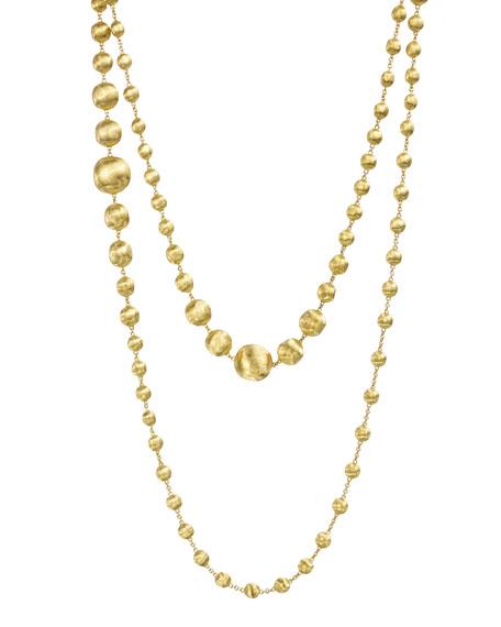 "18K Gold Africa Necklace, 48"""