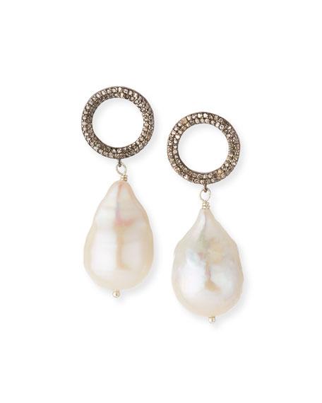 Margo Morrison Baroque Pearl Drop Earrings with Diamonds