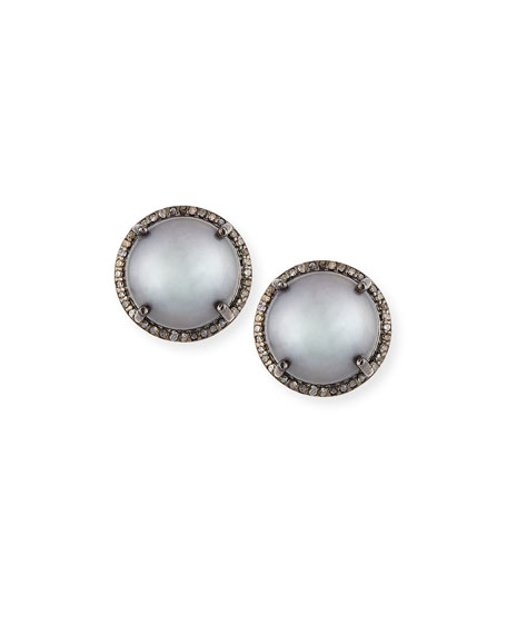 Gray Pearl & Diamond Stud Earrings