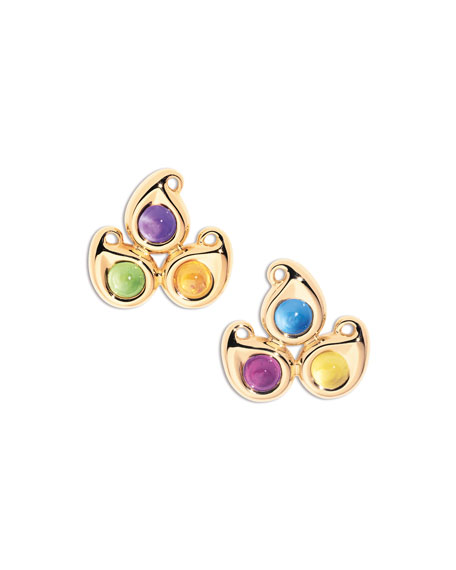 Tamara Comolli Paisley Three-Stone Stud Earrings