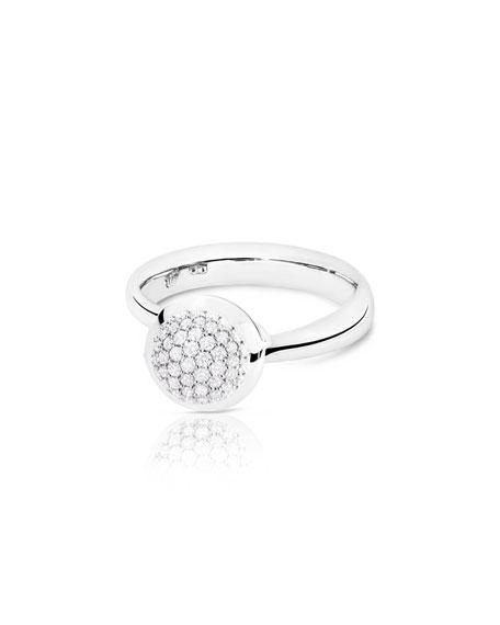 Bouton 18K White Gold Pave Diamond Ring, Size 7/54