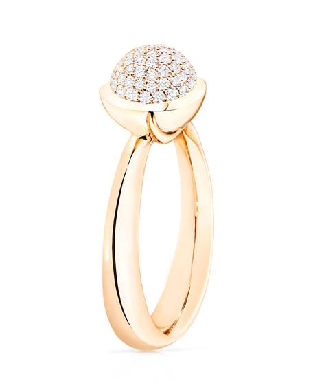 Bouton 18K Rose Gold Pavé Diamond Ring, Size 7/54