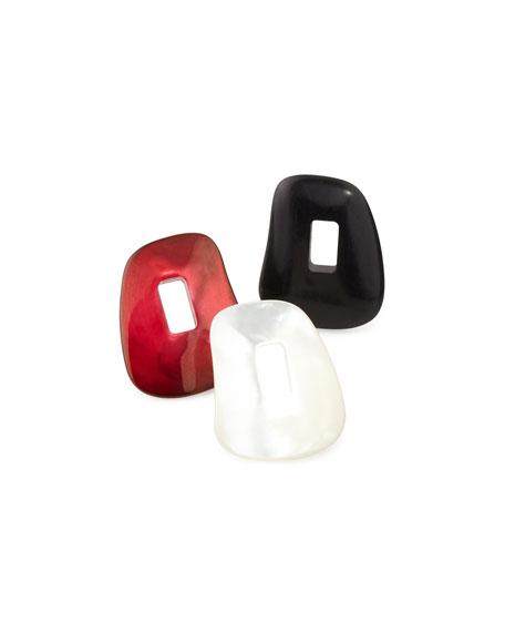 Diamond-Trimmed Puzzle Hoop Earrings, Red/Black/White