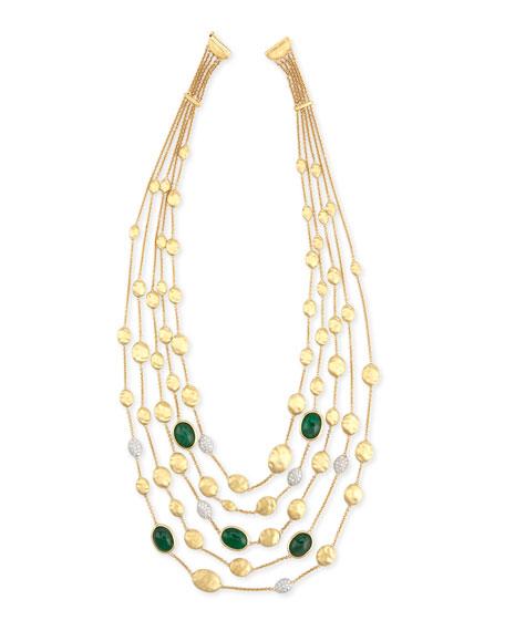 Marco Bicego Unico Multi-Strand Emerald & Diamond Necklace