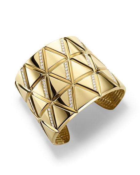 Marina B 18K Yellow Gold Triangoli Diamond Cuff