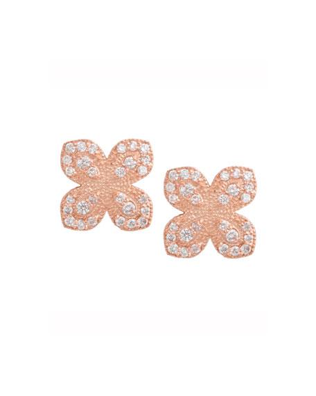 18K Rose Gold Scallop Diamond Flower Earrings