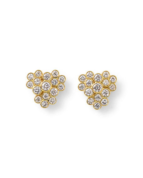 Glamazon Stardust 18K Diamond Bezel Cluster Earrings