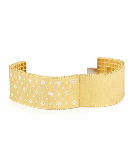Princess 18K Yellow Gold Wide Diamond Bangle