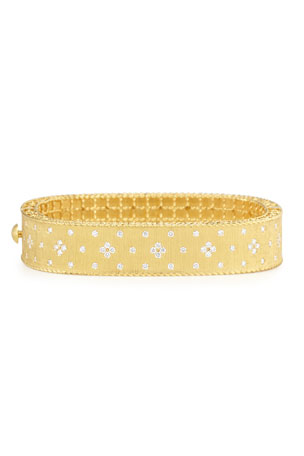 Roberto Coin Princess 18K Yellow Gold Medium Diamond Bangle