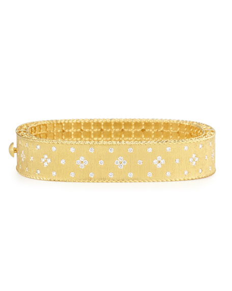 Princess 18K Yellow Gold Medium Diamond Bangle