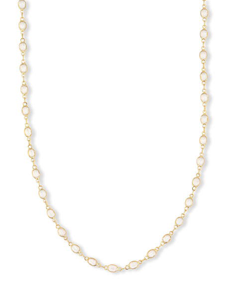 18K Yellow Gold & Faceted White Topaz Necklace, 36