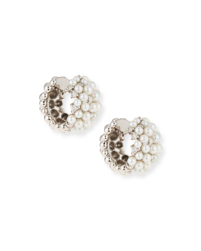 Lagrange 18K Pearl & Diamond Huggie Earrings
