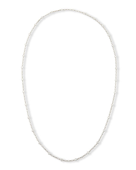 18K White Gold Diamond Station Necklace, 43""
