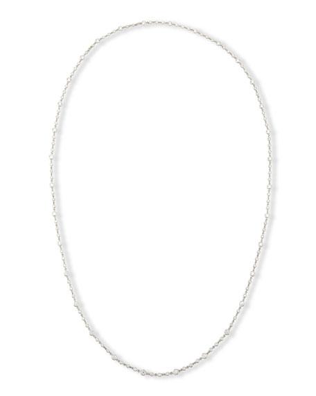 """18K White Gold Diamond Station Necklace, 43"""""""