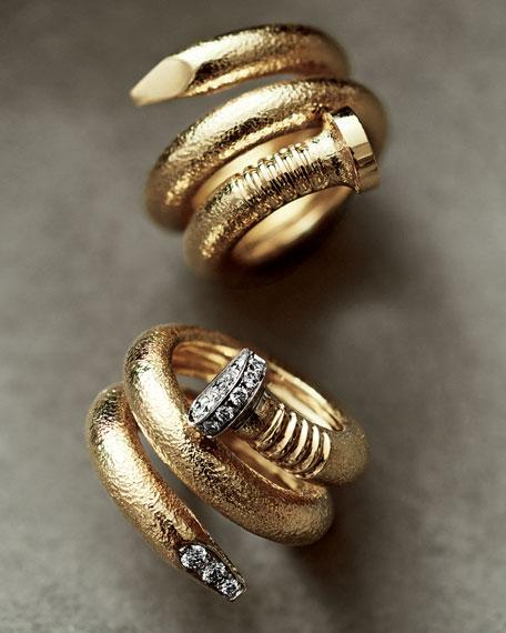 David Webb 18K Diamond Hammered Nail-Shaped Ring