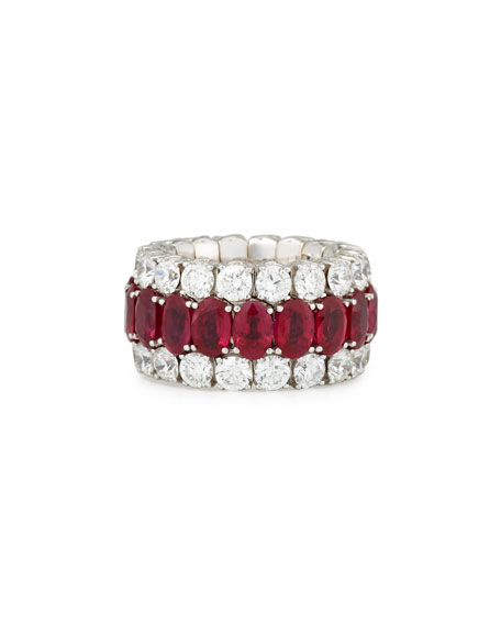 Picchiotti 18K White Gold Expanding Ruby & Diamond