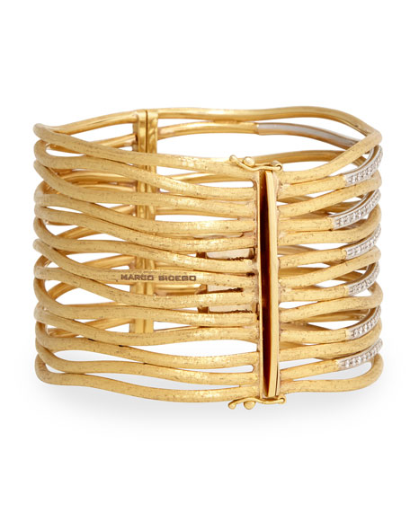 Diamond Jaiper Link Multi-Row Cuff Bracelet