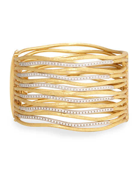 Marco Bicego Diamond Jaiper Link Multi-Row Cuff Bracelet