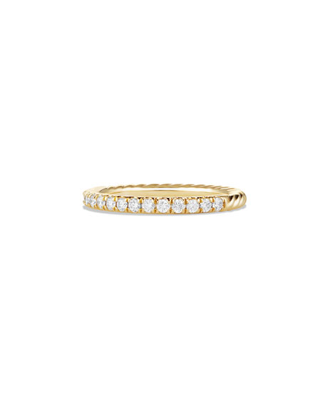 David Yurman Cable Collectibles Pave Diamond Band Ring in 18K Yellow Gold, Size 6