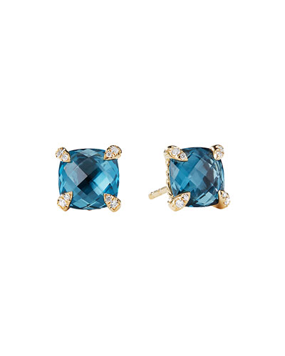 Châtelaine 8mm Hampton Blue Topaz & Diamond Earrings
