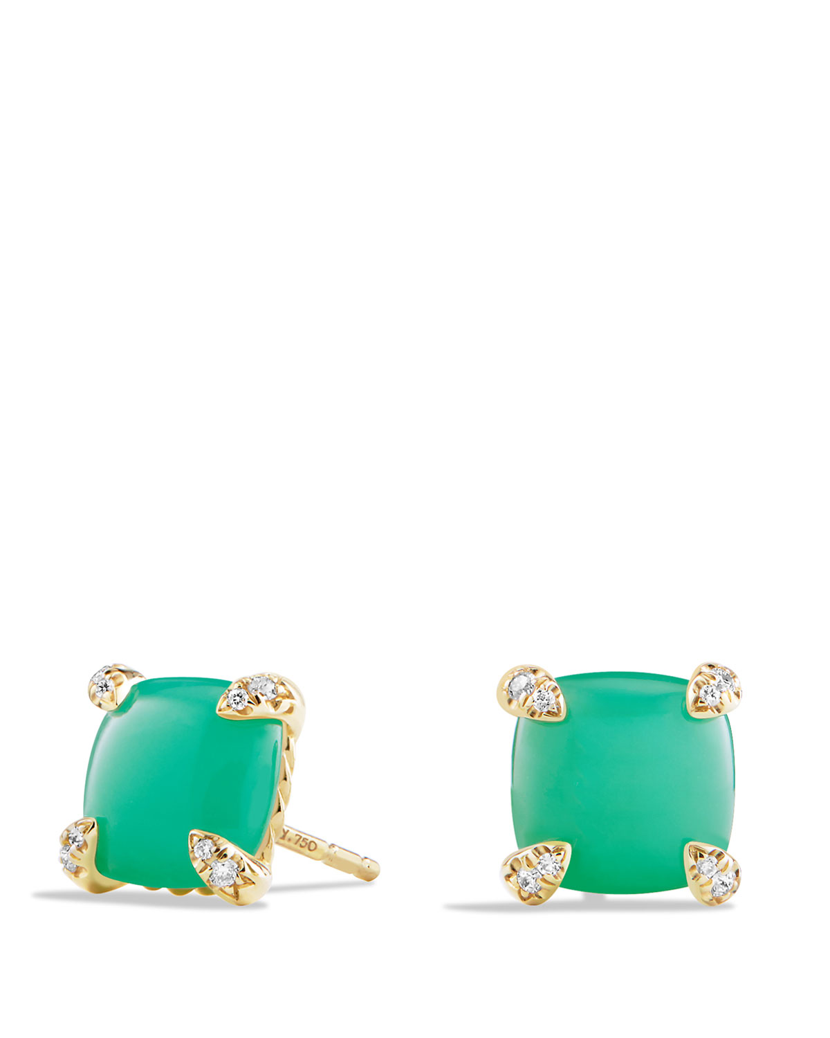 Châtelaine 8mm Cabochon Chrysoprase Diamond Earrings
