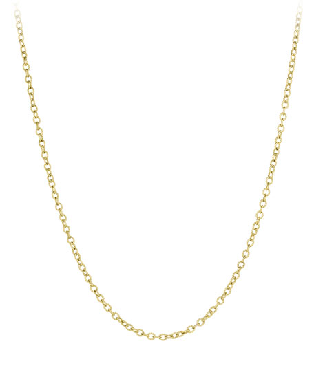 18K Gold Small Cable Rolo Chain Necklace