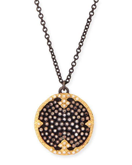 Armenta Old World Midnight Pavé Diamond Disc Pendant