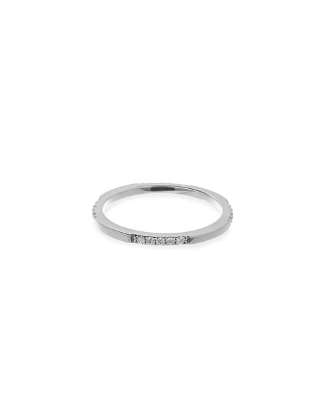 14K White Gold Expose Ring with Diamonds, Size 7