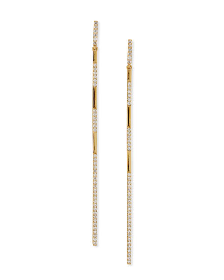 14K Gold Long Expose Bar Earrings with Diamonds