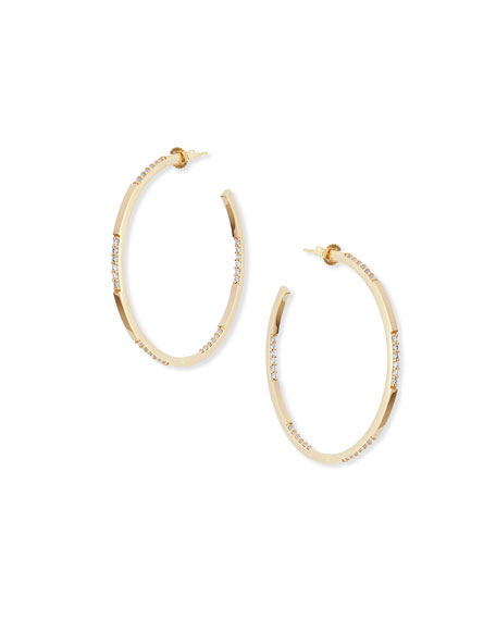 14K Small Expose Hoop Earrings with Diamonds
