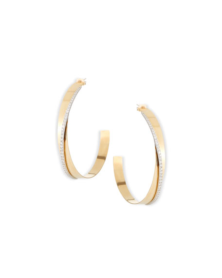 Medium Vanity Expose Twisted 14K Gold & Diamond Hoop Earrings